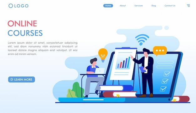 Página de inicio de cursos en línea Vector Premium