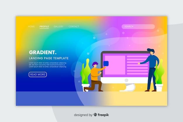 Página de inicio de degradado con plantilla de ilustraciones vector gratuito