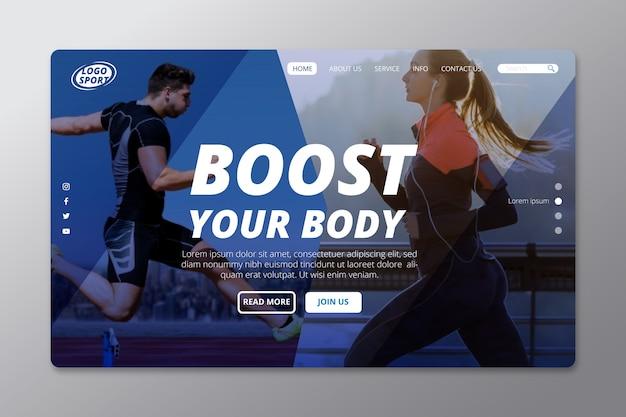 Página de inicio de deporte con gente corriendo photo vector gratuito