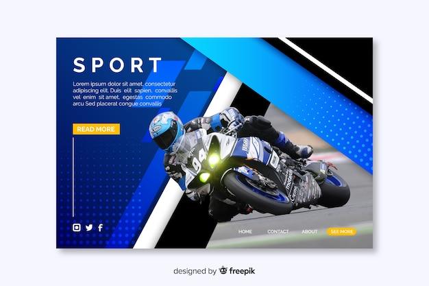 Página de inicio de deporte con hombre en moto vector gratuito