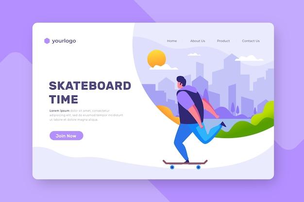 Página de inicio de deportes al aire libre con hombre en patineta vector gratuito