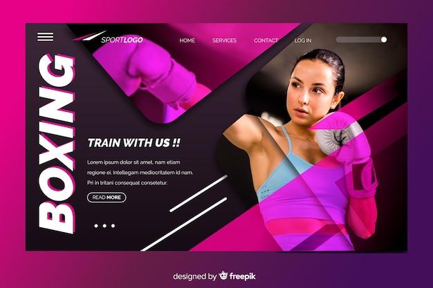 Página de inicio deportiva con boxeo vector gratuito