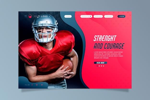 Página de inicio deportiva con foto de jugador de rugby vector gratuito