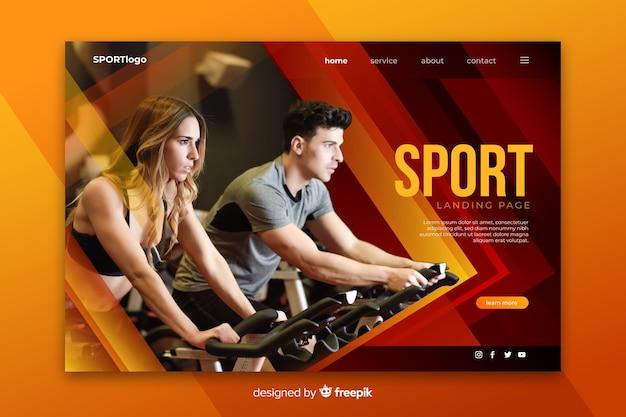 Página de inicio deportiva con foto vector gratuito