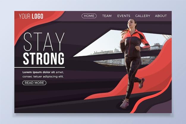 Página de inicio deportiva con imagen vector gratuito
