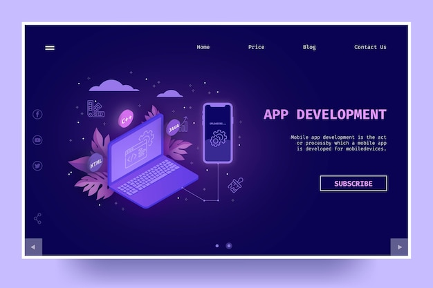 Página de inicio de desarrollo de aplicaciones vector gratuito
