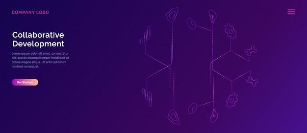 Página de inicio de desarrollo colaborativo vector gratuito