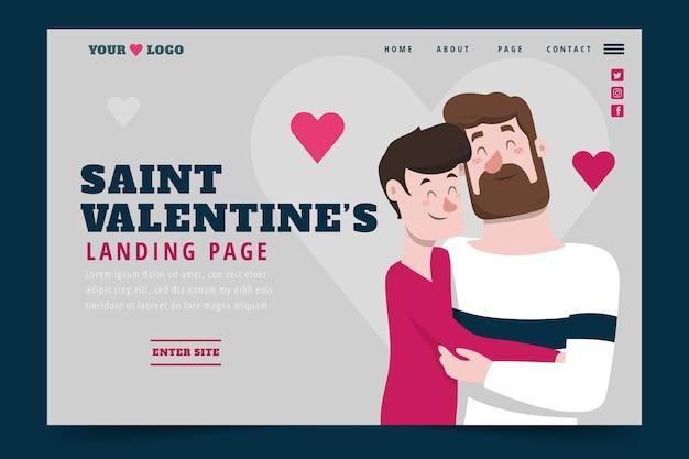 Página de inicio del día de san valentín de diseño plano vector gratuito