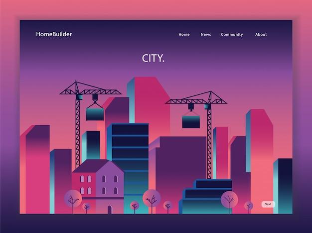Página de inicio de dibujos animados de bienes raíces Vector Premium