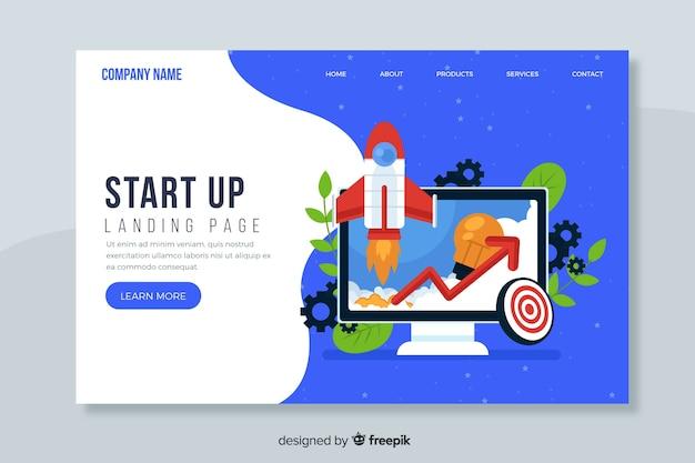 Página de inicio de diseño plano vector gratuito