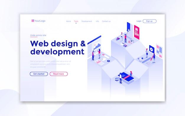 Página de inicio de diseño web Vector Premium