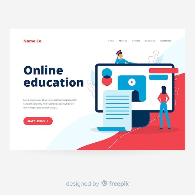 Página de inicio de educación en línea en diseño plano vector gratuito
