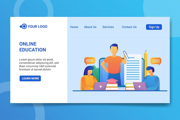 Página de inicio de educación en línea Vector Premium