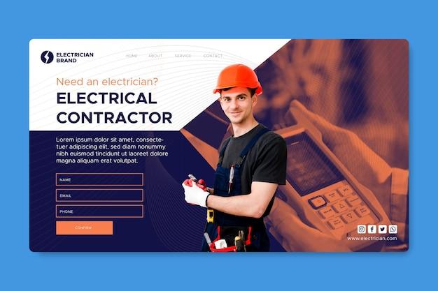 Página de inicio de electricista vector gratuito
