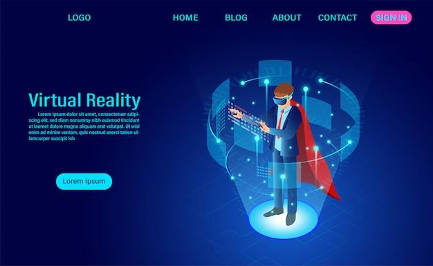 Página de inicio del empresario con gafas vr con interfaz conmovedora en el mundo de la realidad virtual Vector Premium