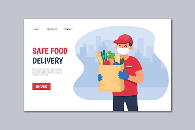 Página de inicio de entrega segura de alimentos vector gratuito
