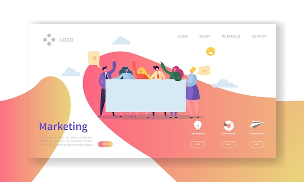 Página de inicio del equipo de marketing. concepto de trabajo en equipo con personajes de gente de negocios trabajando juntos plantilla de sitio web. Vector Premium