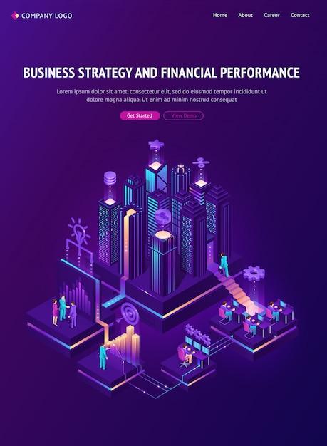 Página de inicio de estrategia comercial y rendimiento financiero vector gratuito