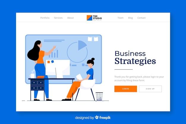 Página de inicio de estrategias comerciales vector gratuito