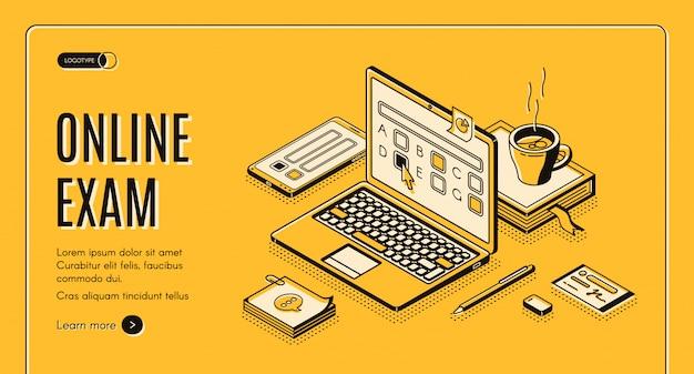 Página de inicio del examen en línea vector gratuito