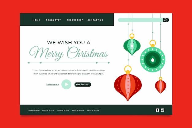Inicio Feliz Navidad.Pagina De Inicio De Feliz Navidad En Diseno Plano