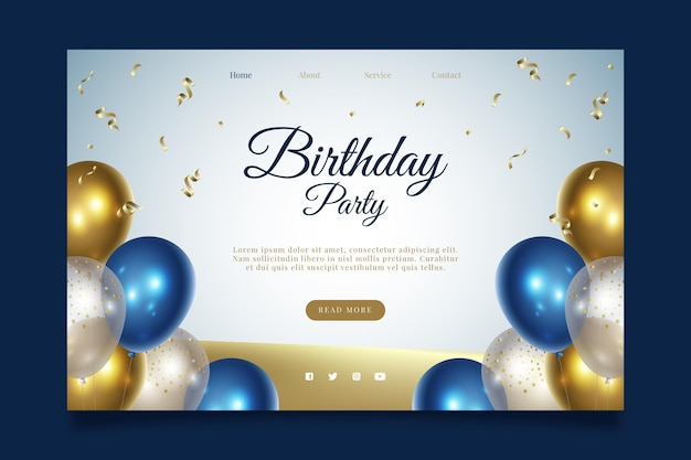 Página de inicio de la fiesta de cumpleaños feliz vector gratuito