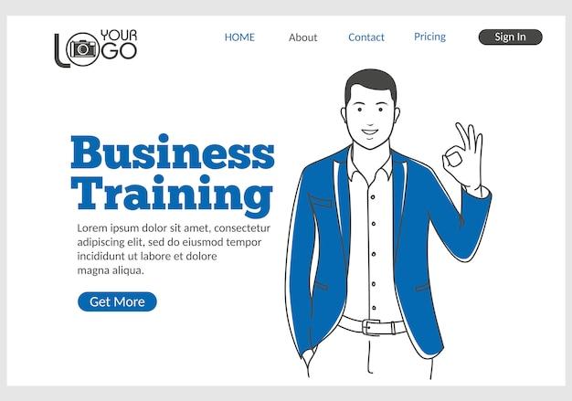 Página de inicio de formación empresarial en estilo de línea fina. Vector Premium