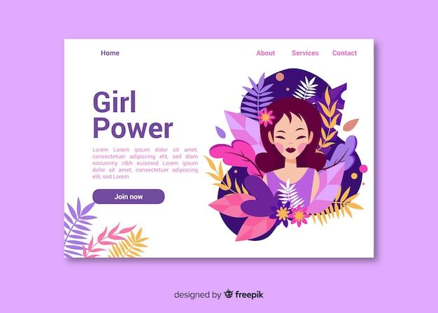 Página de inicio de girl power nature vector gratuito
