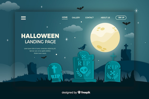 Página de inicio de halloween en diseño plano vector gratuito