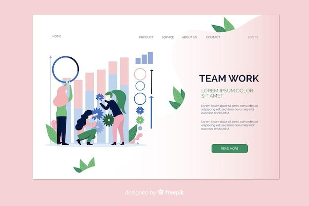 Página de inicio de ilustración de trabajo en equipo vector gratuito