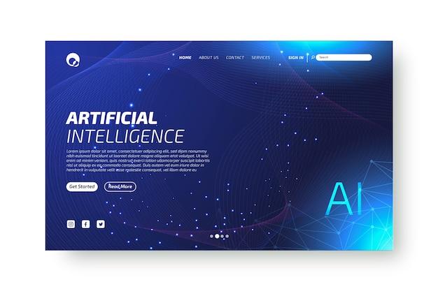 Página de inicio de inteligencia artificial vector gratuito