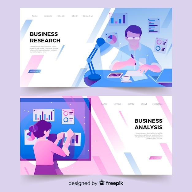 Página de inicio de investigación empresarial vector gratuito