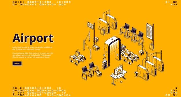 Página de inicio isométrica del aeropuerto con área de espera de pasajeros vector gratuito