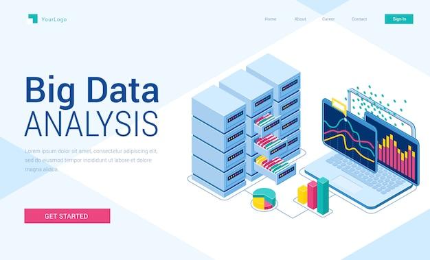Página de inicio isométrica de análisis de big data, banner vector gratuito