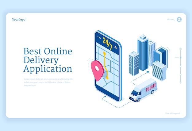 Página de inicio isométrica de la aplicación de entrega en línea. vector gratuito
