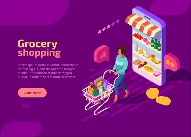 Página de inicio isométrica de compras de comestibles, banner web púrpura. concepto. vector gratuito