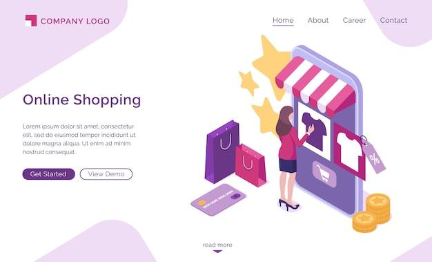 Página de inicio isométrica de compras en línea, banner web vector gratuito