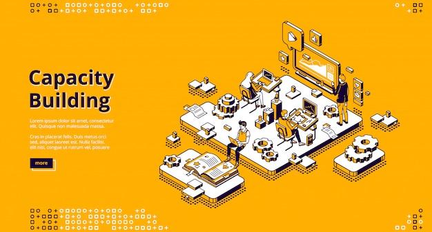 Página de inicio isométrica de creación de capacidad. vector gratuito