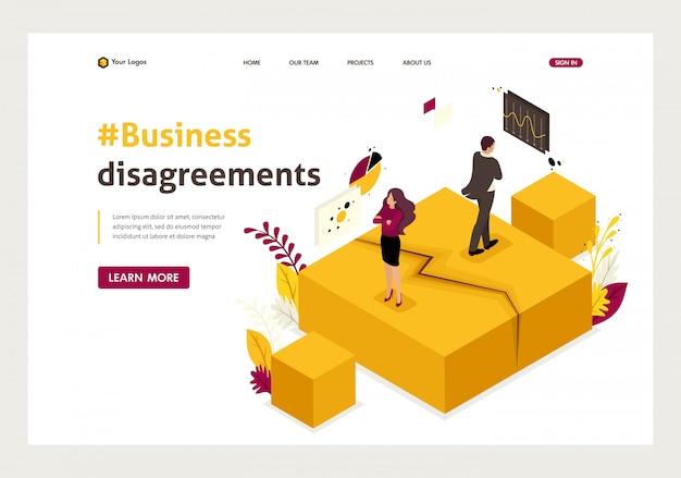 Página de inicio isométrica de desacuerdos, disputas y conflictos de socios comerciales. Vector Premium