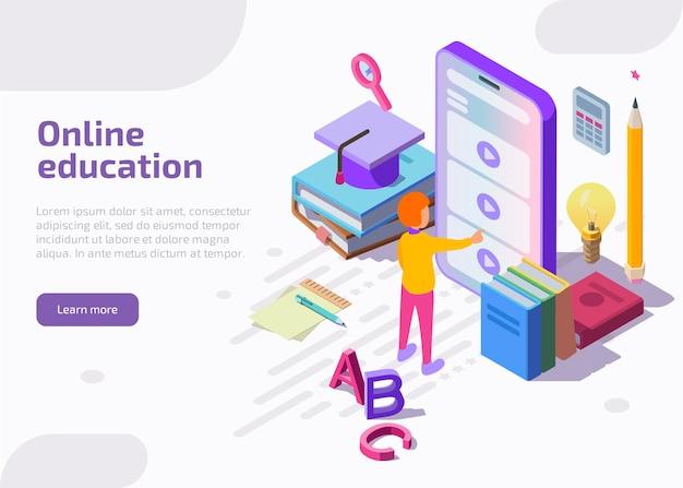 Página de inicio isométrica de educación en línea, banner web. vector gratuito