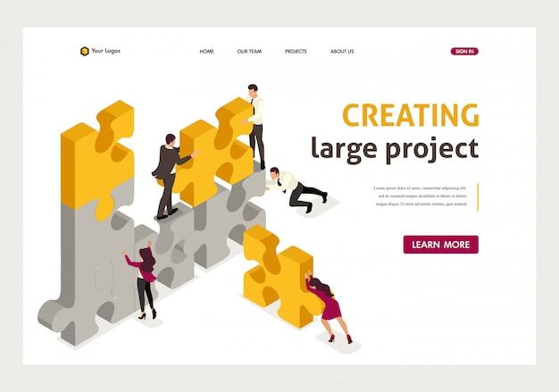 La página de inicio isométrica del equipo trabaja en conjunto para crear un proyecto, hombres de negocios. Vector Premium