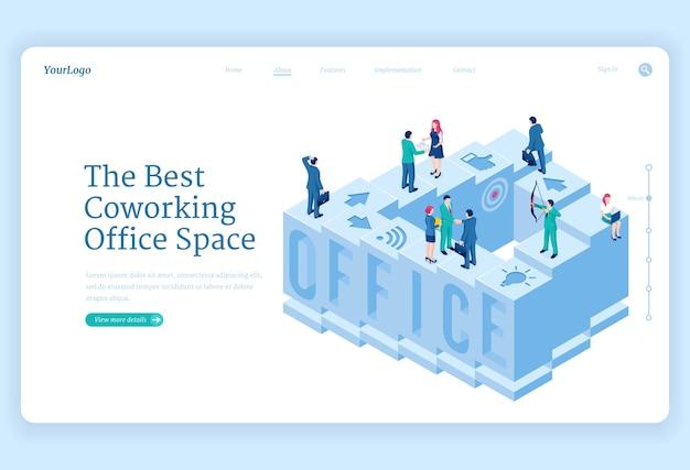 Página de inicio isométrica del espacio de oficina de coworking vector gratuito