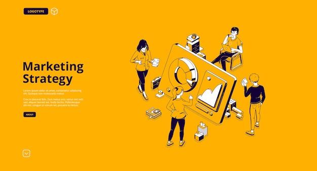 Página de inicio isométrica de estrategia de marketing vector gratuito