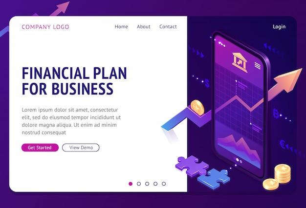 Página de inicio isométrica de estrategia de plan financiero vector gratuito