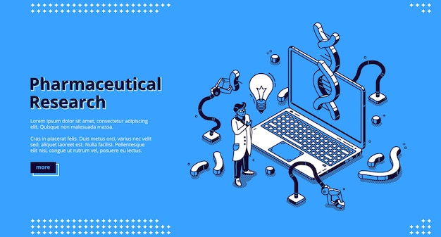 Página de inicio isométrica de investigación farmacéutica vector gratuito