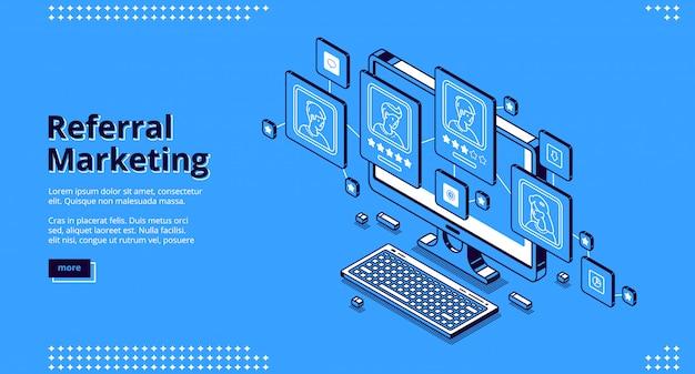 Página de inicio isométrica de marketing de referidos. vector gratuito
