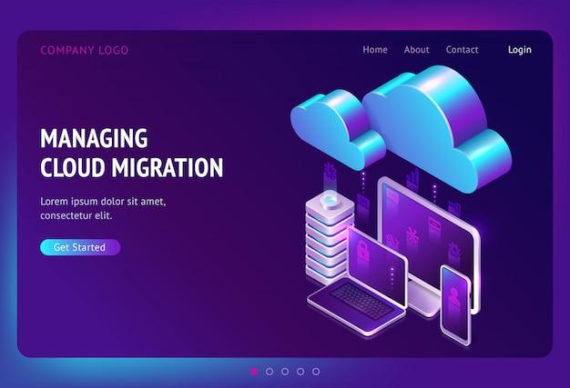 Página de inicio isométrica de migración de datos digitales vector gratuito
