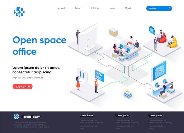 Página de inicio isométrica de la oficina de espacio abierto Vector Premium