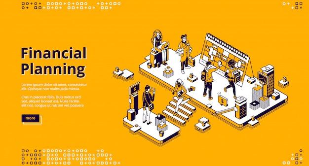 Página de inicio isométrica de planificación financiera, banner vector gratuito