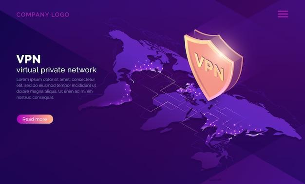 Página de inicio isométrica de red privada virtual vpn vector gratuito